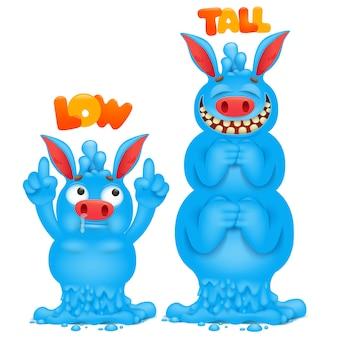 Antonyme und gegensätze. cartoon monster charakter karten zum lernen der englischen sprache. klein und groß.