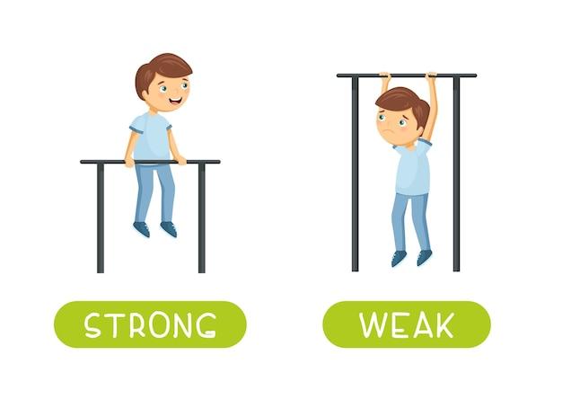 Antonyme und gegensätze. stark und schwach. zeichentrickfigurenillustration. karte zum unterrichten, fremdsprachenlernen.
