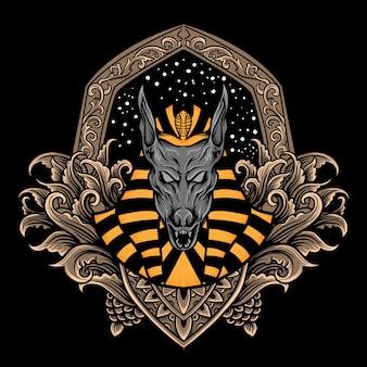Anubis illustration mit gravurstil