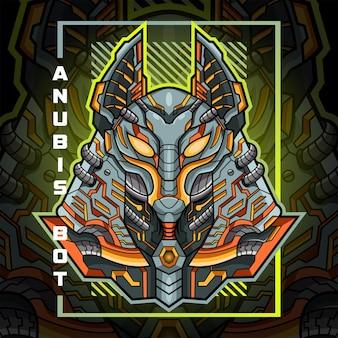 Anubis kopf maskottchen logo