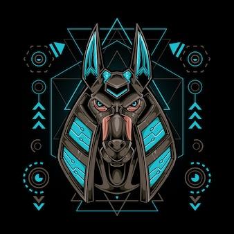 Anubis kopfroboter mit heiliger geometrie