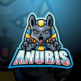 Anubis maskottchen esport logo design