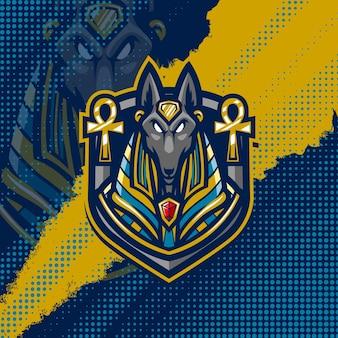 Anubis maskottchen logo design illustration