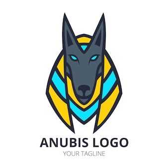 Anubis maskottchen logo design vecto