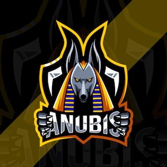 Anubis maskottchen logo esport template design
