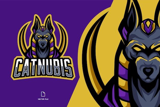 Anubis maskottchen mythologie sportspiel logo illustration