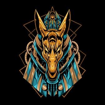 Anubis mecha robotervektorillustration mit geometrischem design