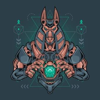 Anubis roboter mit heiliger geometrie