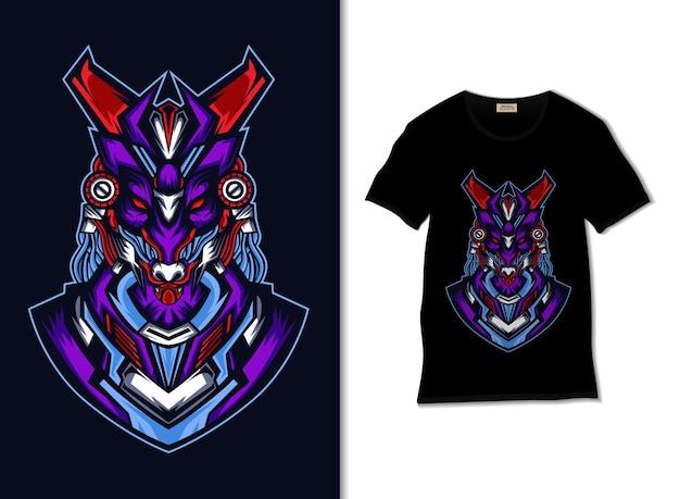 Anubis roboterillustration mit t-shirt design, hand gezeichnet