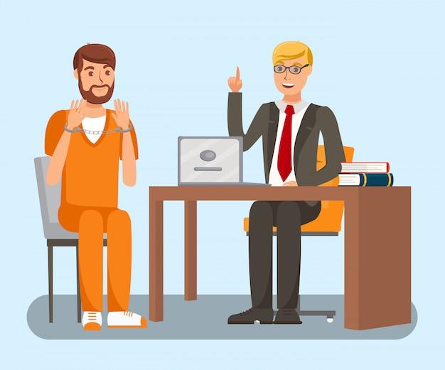 Anwalt im gespräch mit dem kunden