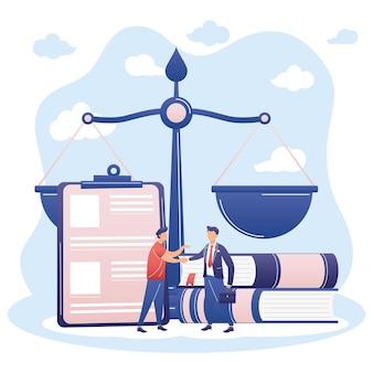 Anwalt und mann mit gesetzessymbolen