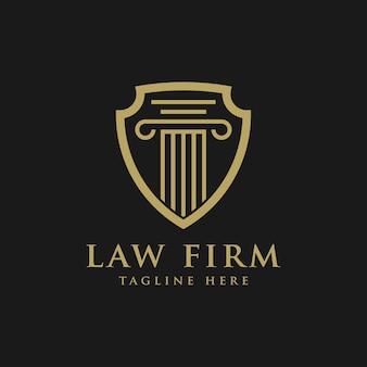 Anwaltskanzlei logo, gerechtigkeit und schild Premium Vektoren