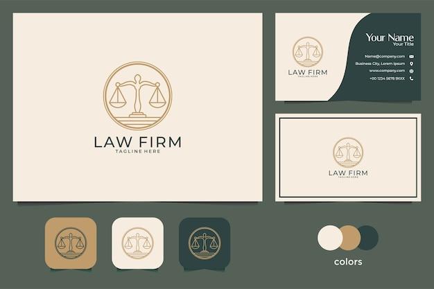 Anwaltskanzlei mit line-art-stil logo-design und visitenkarte