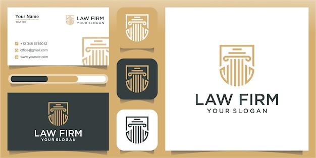 Anwaltskanzlei mit schild logo design inspiration, illustration