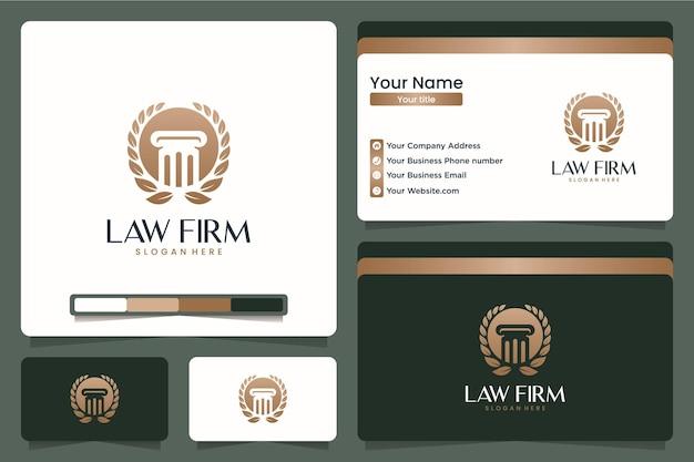 Anwaltskanzlei, säule, logo-design und visitenkarte