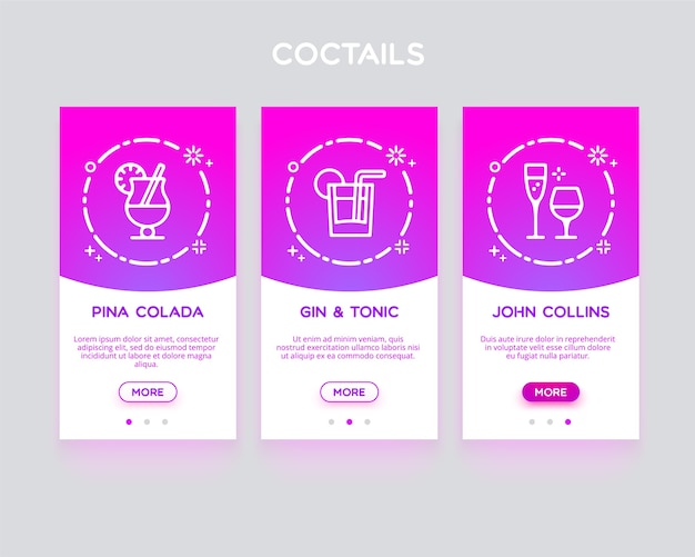 Anwendung onboarding, coctails.