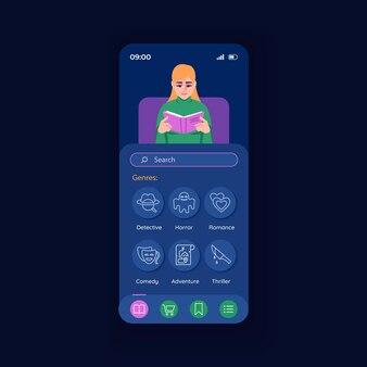 Anwendung zum lesen der vektorvorlage für die nacht-smartphone-schnittstelle. design-layout für mobile apps. vielzahl von buchgenresscreen. e-buch. flache benutzeroberfläche für die anwendung. telefondisplay