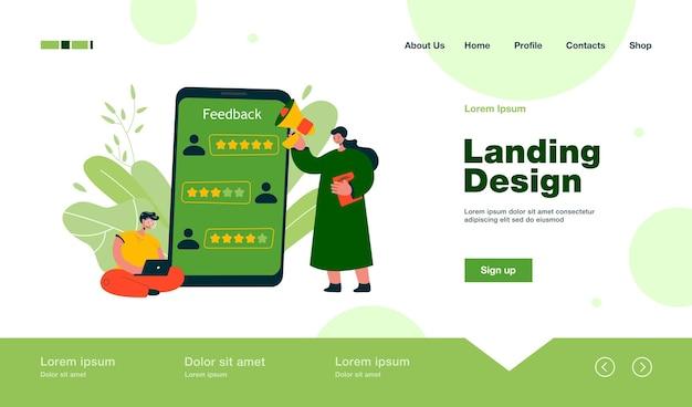 Anwendungsbenutzer, der positives feedback-landingpage im flachen stil gibt