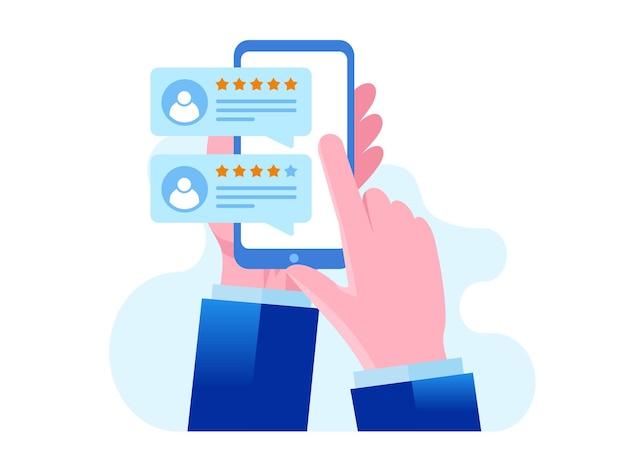 Anwendungsbewertung. kunden- und benutzerrezensionen 5 sterne. website-ranking-system, positives feedback, stimmen auswerten. flache vektorillustration