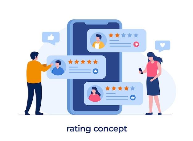 Anwendungsbewertungskonzept, technologie, kundenzufriedenheit, überprüfung, ui und ux, soziale medien, flacher illustrationsvektor