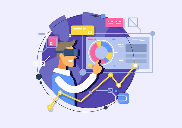 Anwendungsentwicklung in der virtuellen realität. schnittstelle in einer virtuellen umgebung. forschung und entwicklung.