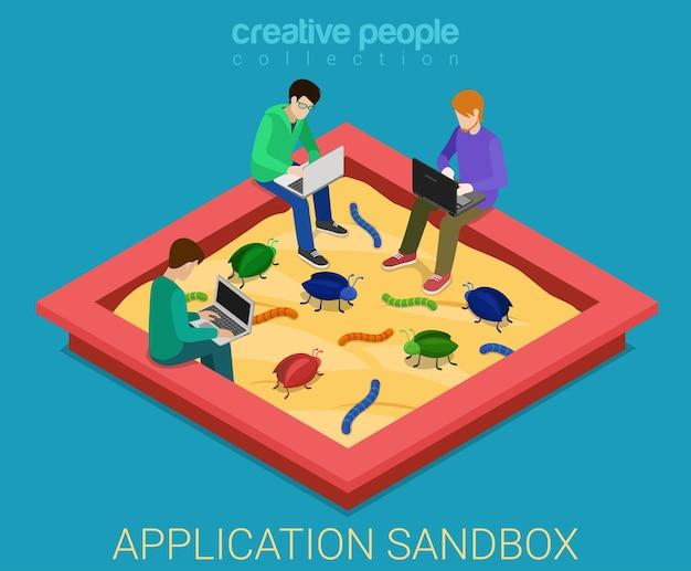 Anwendungsentwicklung sandbox debug flach isometrisch
