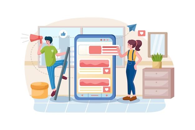 Anwendungsentwicklung und social media konzept
