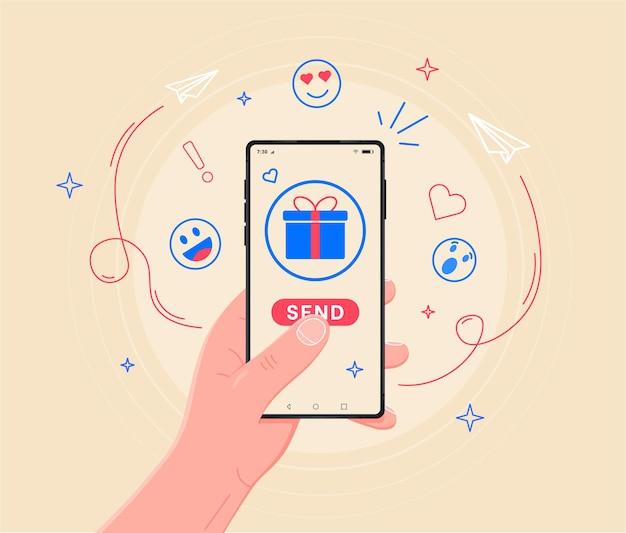 Anwendungsgeschenkseite auf dem smartphone-bildschirm hand halten smartphone-touch-finger-anmeldetaste