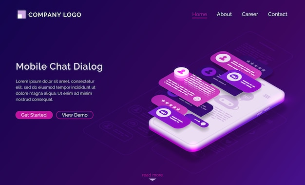 Anwendungsoberfläche für den mobilen chat-dialog