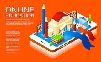 Anwendungsplakat-Designschablone der on-line-Bildung bewegliche auf orange Hintergrund