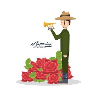 Anzac-soldat, der eine trompete und mohnblumen hält