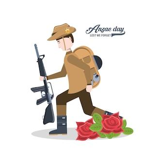Anzac-soldat, der eine waffe und mohnblumen hält