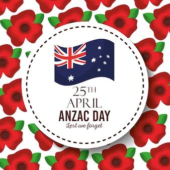 Anzac tag, damit wir abzeichen australische flagge rot nicht vergessen