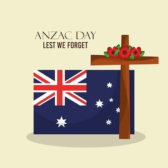 Anzac tag, damit wir australische flagge des plakats nicht vergessen