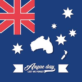 Anzac-tagesentwurf mit neuseeland-flagge