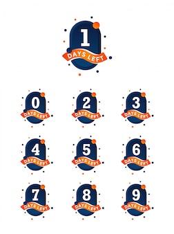 Anzahl der tage, die das abzeichen für den verkauf oder die promotion übrig bleibt. orange und dunkelblaue farben