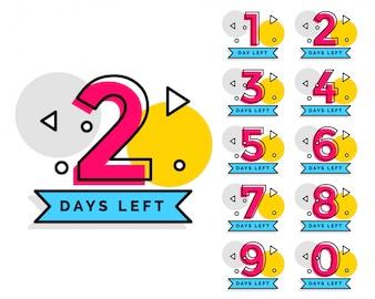 Anzahl der Tage übrig Abzeichen zum Verkauf oder zur Förderung