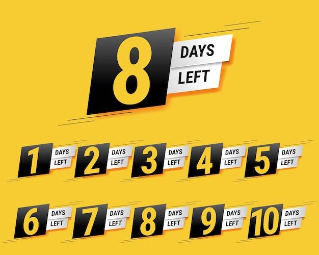 Anzahl der verbleibenden tage banner gelber hintergrund mit verlaufsgitter