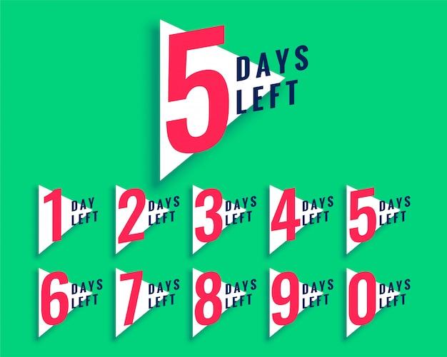 Anzahl der verbleibenden tage countdown-vorlage im dreiecksstil