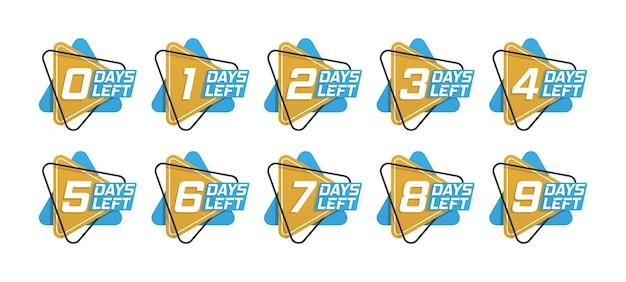 Anzahl der verbleibenden tage countdown-vorlage, kann für werbung, verkauf, zielseite, vorlage, benutzeroberfläche, web, mobile app, poster, banner, flyer verwendet werden. werbebanner mit der anzahl der verbleibenden tage.