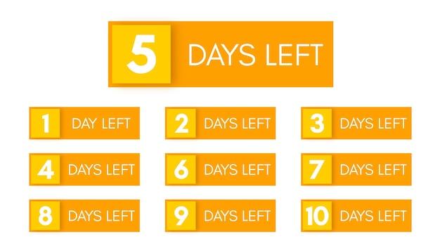 Anzahl der verbleibenden tage. satz von zehn gelben bannern mit countdown von 1 bis 10. vektorillustration