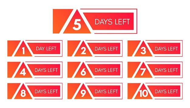 Anzahl der verbleibenden tage. satz von zehn roten bannern mit countdown von 1 bis 10. vektorillustration