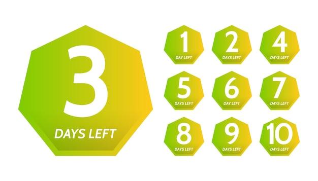 Anzahl der verbleibenden tage. set von zehn bunten bannern mit countdown von 1 bis 10. vektorillustration