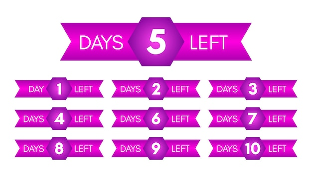Anzahl der verbleibenden tage. set von zehn lila bannern mit countdown von 1 bis 10. vektorillustration