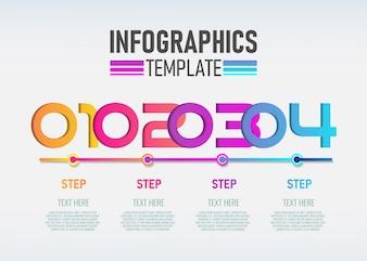 Anzahl Infografik-Template-Design mit 4 Schritten.