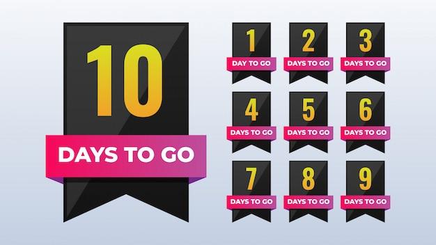 Anzahl verbleibender tage countdown-abzeichen