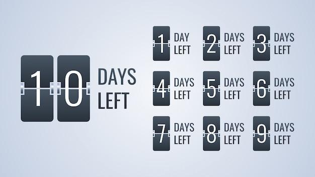 Anzahl verbleibender tage flip countdown-uhr zähler timer-vorlage