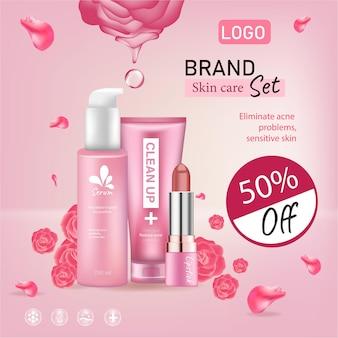 Anzeige modekosmetikkollektion hautpflege mit rosenblütenblättern pastellfarben-stil bio-kosmetik