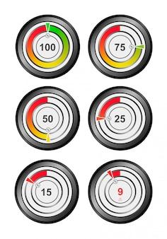 Anzeige von ladung, sauerstoff, energie, druck, manometer, temperatur und mehr. 100, 75, 50, 25, 15, 9 prozent. indikator für das ui-konzept.