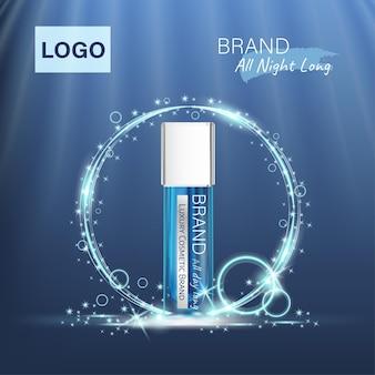 Anzeigen blaue luxuskosmetik mit professionellem gesichtsserum auf dem hintergrund von wellen und lichteffekt